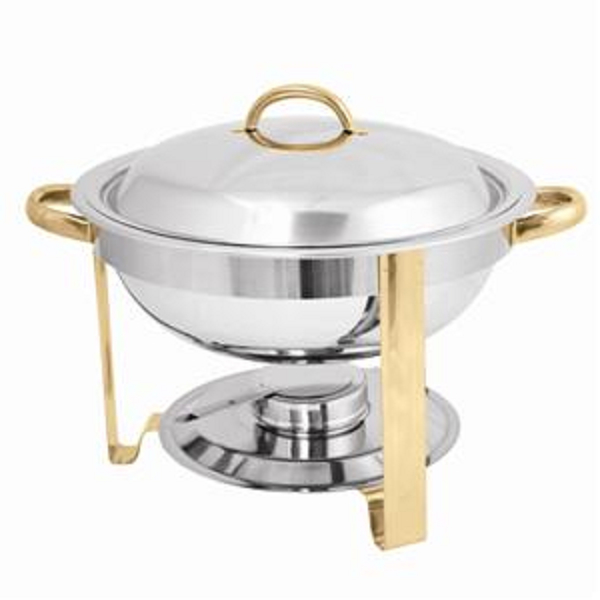 4 QUART GOLD ACCENTED ROUND CHAFER